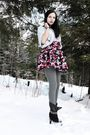 Pink-kappahl-dress-gray-cubus-top-gray-cubus-tights-black-gojane-boots-s