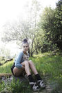 Blue-h-m-cardigan-beige-h-m-top-black-gina-tricot-shorts-gray-cubus-socks-