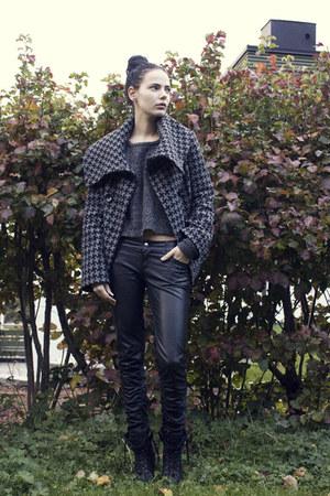 black leather Forever21 pants - heather gray oversized JSFN jacket
