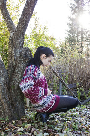pink Dale of Norway sweater - black GINA TRICOT shorts - gray Cubus tights - bla