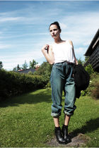 blue Ellos jeans - white thrifted top - black Bik Bok socks - black GoJane shoes