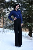 blue silky vintage shirt - GoJane boots - black H&M hat - black thrifted blazer