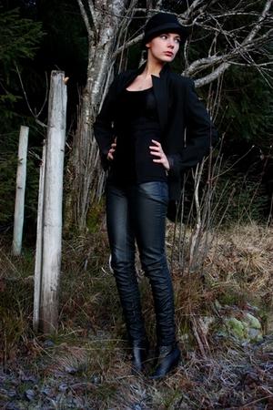 black KappAhl blazer - black GoJane shoes - black H&M hat