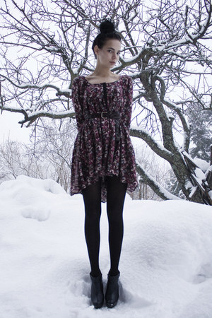 black GoJane shoes - crimson floral H&M dress - black Kmart tights - heather gra