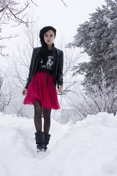 black Nellycom boots - hot pink BikBok dress - black leathery Cubus jacket - bla