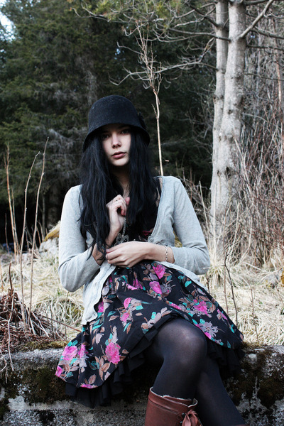 black Atmosphere dress - brown thrifted belt - black random tights - brown Benel