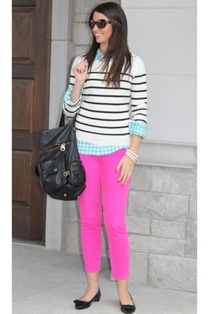 Jcrew blouse - Forever21 sweater - Jcrew pants