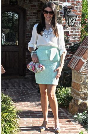 Zara skirt - tory burch sunglasses - Zara necklace - Valentino heels