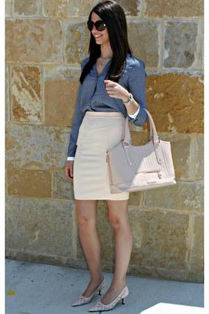 Zara blouse - ted baker bag - Zara skirt - stuart weitzman heels