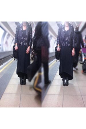 black leather Miss Selfridge jacket - Ebay boots - maxi grey asos dress