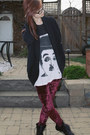 Magenta-velvet-romwe-leggings-charlie-chaplin-etsy-shirt-wilfred-cardigan