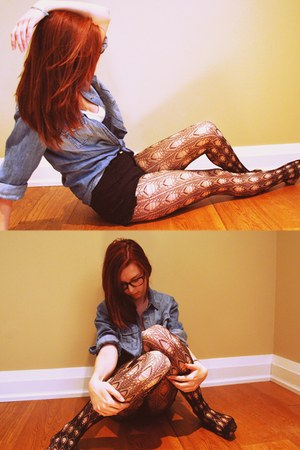 H&M tights - sky blue denim Urban Outfitters shirt