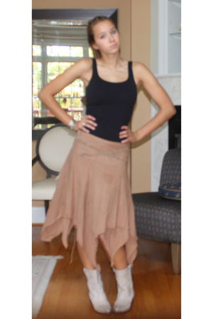 brown vintage skirt - black United Colors of Beniton top - white Steve Madden sh