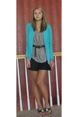 blue Silence &amp; Noise blazer - black Nordstrom shorts - beige Nordstrom top - bla