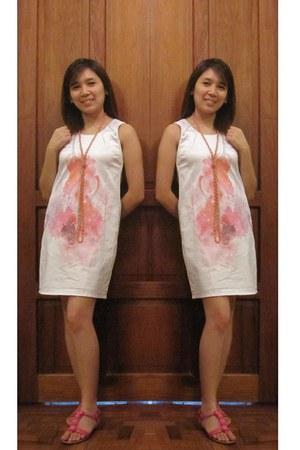 white silk Plains & Prints dress - pink beaded Redwood sandals - light orange ra