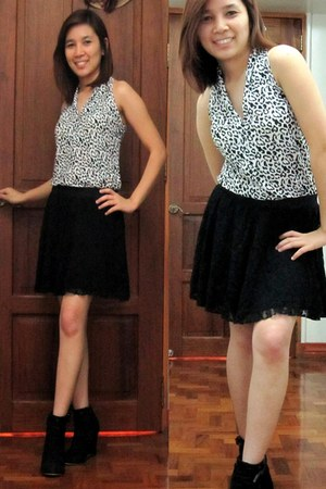 black suede boots - black lace skirt - white leopard print top