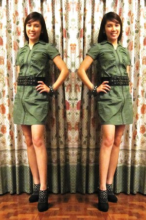 black studded thrifted boots - army green zippered crissa dress - black leather