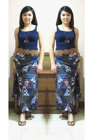navy lycra thrifted top - Cats skirt - dark brown beaded People are People sanda