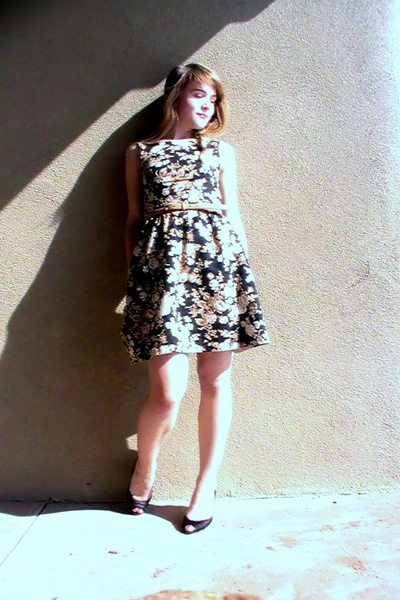 black handmade dress - beige Ralph Lauren belt - black Karen Scott shoes