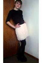 black shirt - white xhilaration skirt - black shoes - black tights - silver earr