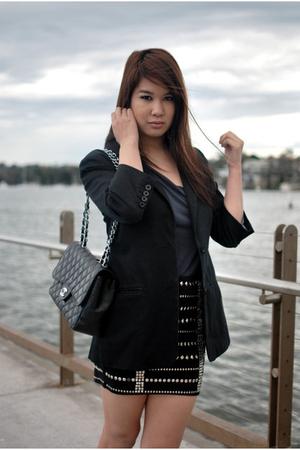 Sportsgirl top - Forever New blazer - One Way skirt - Chanel accessories