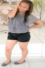 Black-sexy-bny-shorts-heather-gray-atmosphere-blouse-heather-gray-flower-des