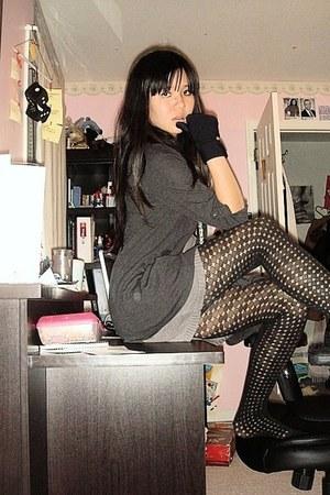 heather gray Forever 21 dress - dark gray kohls sweater - black apt 9 tights - b