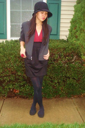 brick red papaya dress - black vera wang tights - black shoes - black croft and