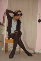 blue Forever 21 t-shirt - blue Forever 21 shorts - black apt 9 tights - brown Fo