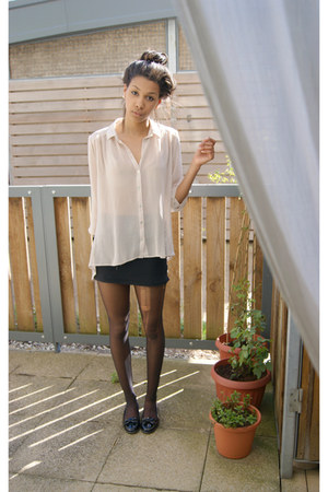 off white chiffon Primark blouse - black old top Thrift Store skirt - black pate