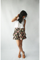 Dark White skirt - Jeffrey Campbell shoes