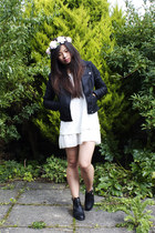 Topshop jacket - new look boots - unknown brand dress - new look hair accessory