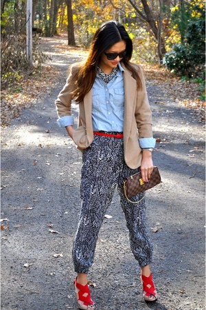 red Zara pumps - tan Urban Outfitters blazer - brown Louis Vuitton bag