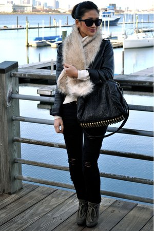 black Alexander Wang bag - charcoal gray ASH boots - black Forever 21 jacket