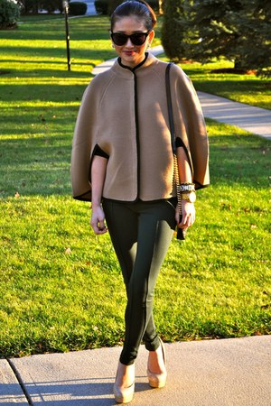 tan JCrew cape - black Marc Jacobs bag - dark green Zara pants