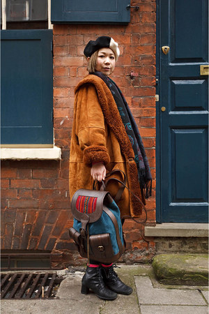 Urban Outfitters boots - vintage coat - teal Beara Beara bag