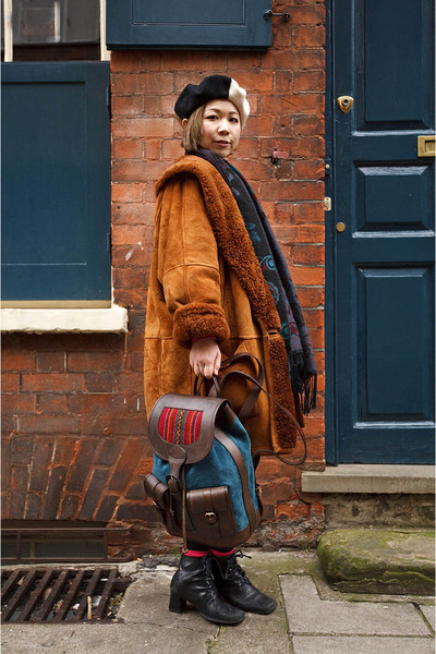 Urban Outfitters boots - vintage coat - teal Beara Beara bag