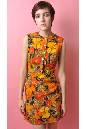 carrot orange a-line mini bear cat la dress