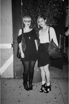 black American Apparel dress - black H&M skirt - black urban outfitters shoes -