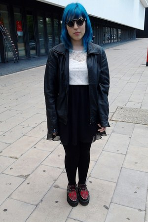 leather black jacket - shoes - Bershka dress - black Primark tights - sunglasses