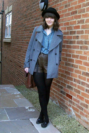 heather gray wool Topshop coat - black bowler hat H&M hat