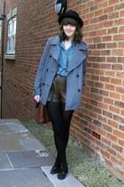 heather gray wool Topshop coat - black bowler hat H&M hat