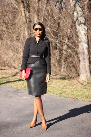 leather joseph skirt - Zara blazer - clutch balenciaga bag