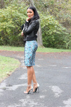 blue brocade lanvin skirt - black leather acne jacket - black Target sweater