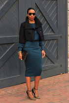 midi DIY skirt - cropped Burberry jacket - Jean Michel Cazabat heels - DIY top