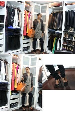tan Iodice top - navy J Brand jeans - black acne jacket - Zara bag