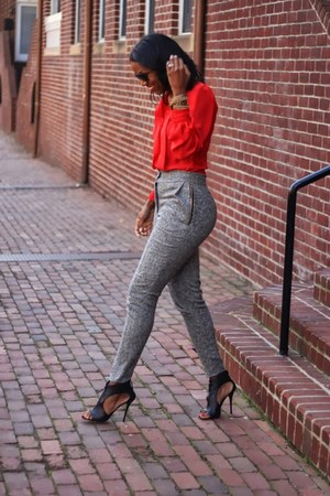 heather gray high waisted DIY pants - red Oscar de la Renta blouse