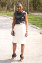 leather DIY top - DIY skirt - Camilla Skovgaard heels