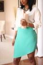 Asymmetric-diy-skirt-burberry-shirt-leather-clutch-diy-bag