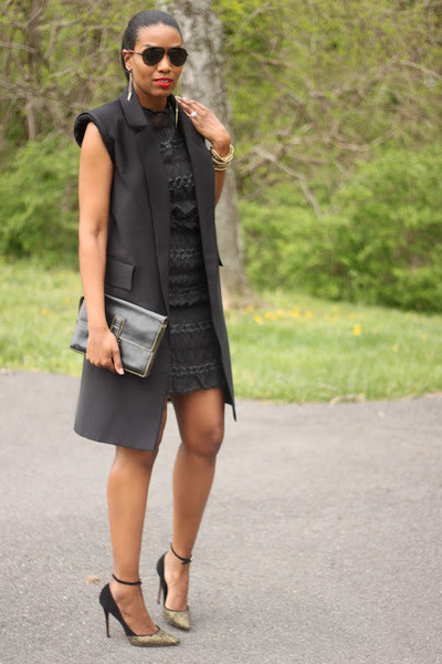DIY vest - DIY dress - Jean Michael Cazabat heels